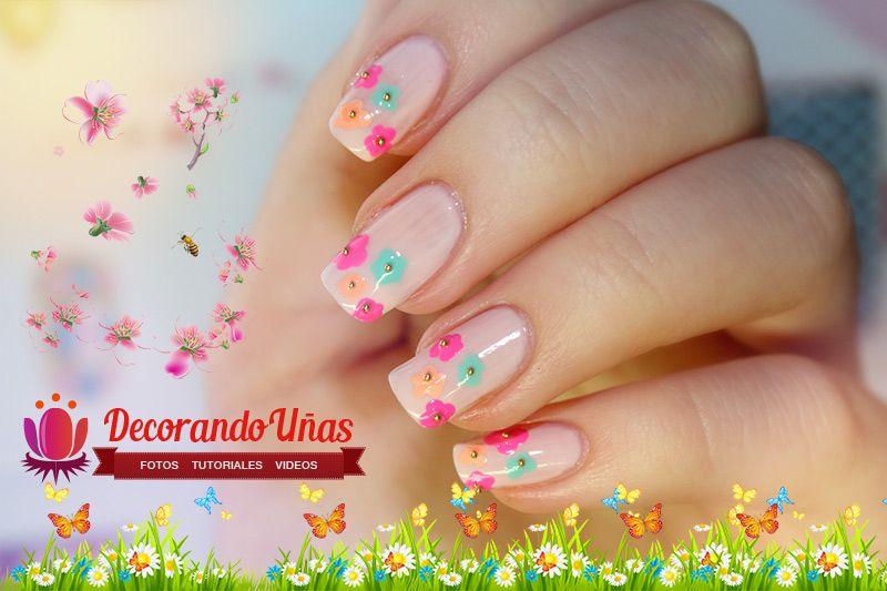 Uñas Decoradas Con Flores Video Paso A Paso Decoración De Uñas