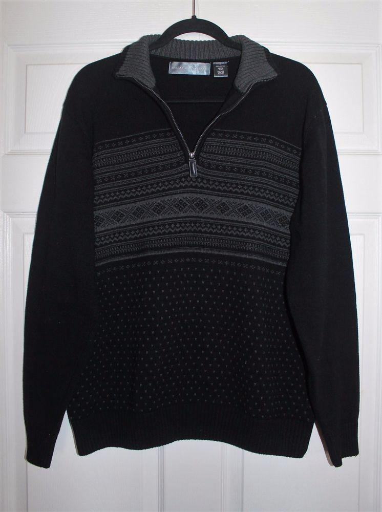 Oscar De La Renta Mens Pullover Knit Sweater 12 Zip Euc