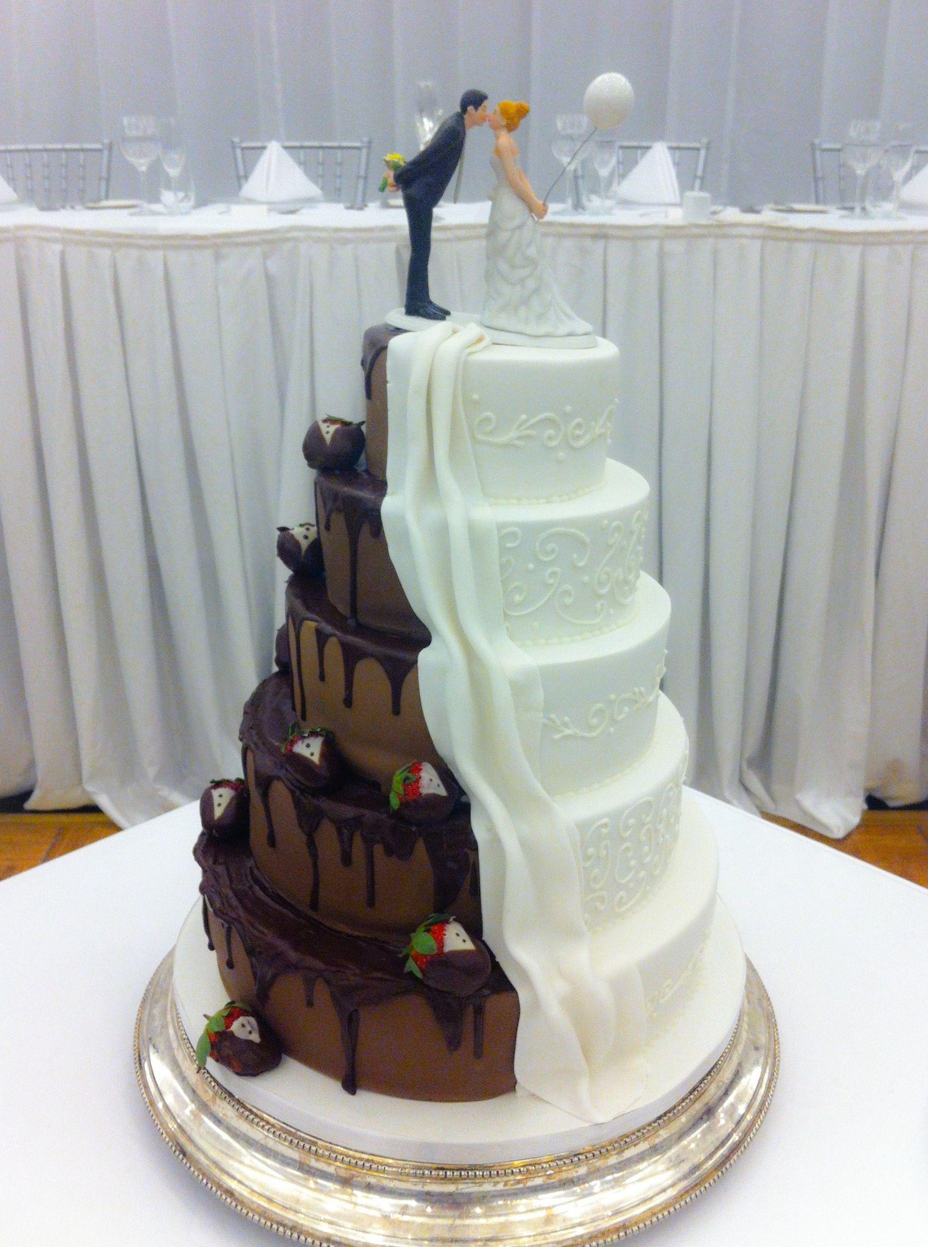 Half Chocolate Modern And Traditional White Wedding Cake