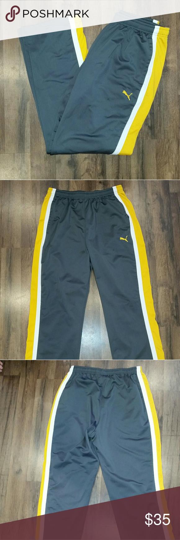 ba74181fefe6 Puma Men s pants Grey with yellow and white stripes down the outter leg.  GREAT shape. Men s size L. Puma Pants Sweatpants   Joggers