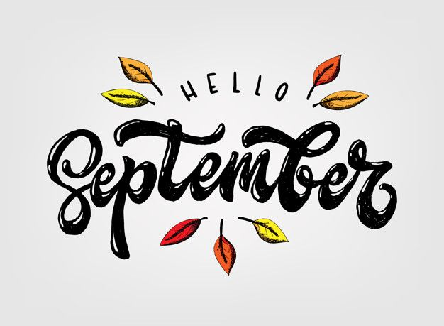 Cute Hand Lettering Quote 'hello September'