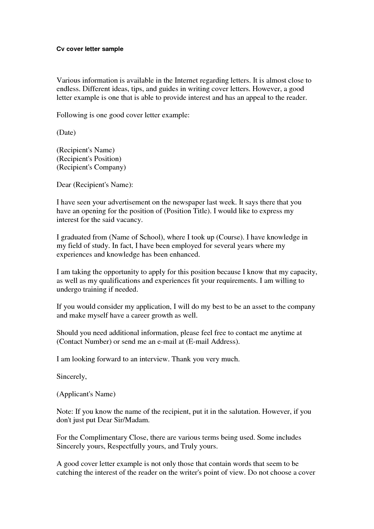 sample of a cv cover letter converza co