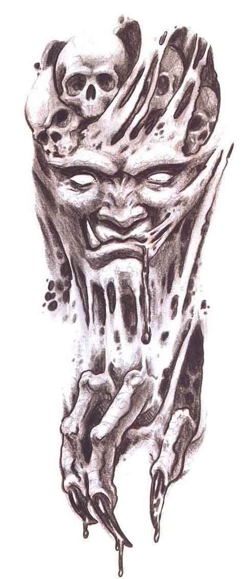Devil Face Line Drawing : Scary demon drawings new tattoo design art