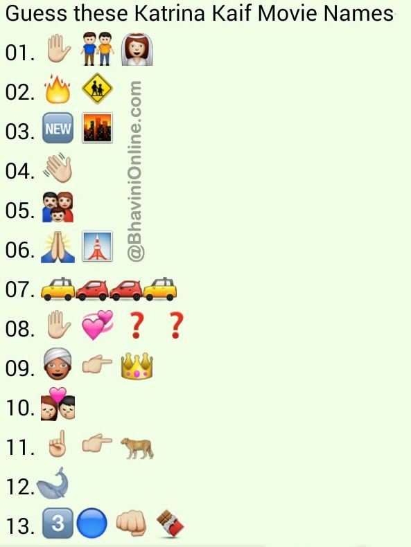 Whatsapp Puzzles Guess The Katrina Kaif Movie Names From Emoticons And Smileys Bhavinionline Com Katrina Kaif Movies Katrina Kaif Katrina