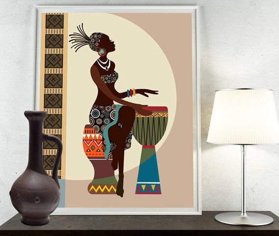 African Home Decor By 3rd Culture: African American Wall Art, Black Girl Painting Decor In