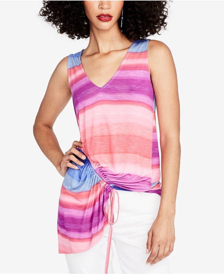 Rachel Roy Striped Asymmetrical Top, Created for Macy's