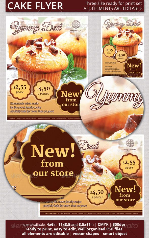 cake flyer psd set template only available here http