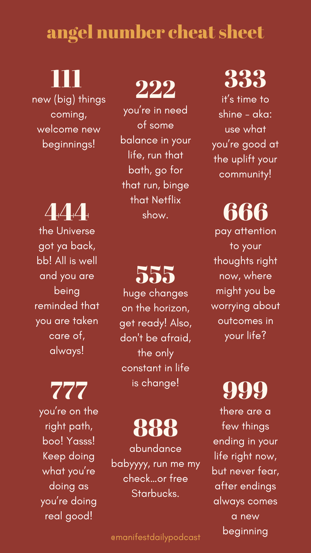 Angel Numbers Cheat Sheet - Law of Attraction