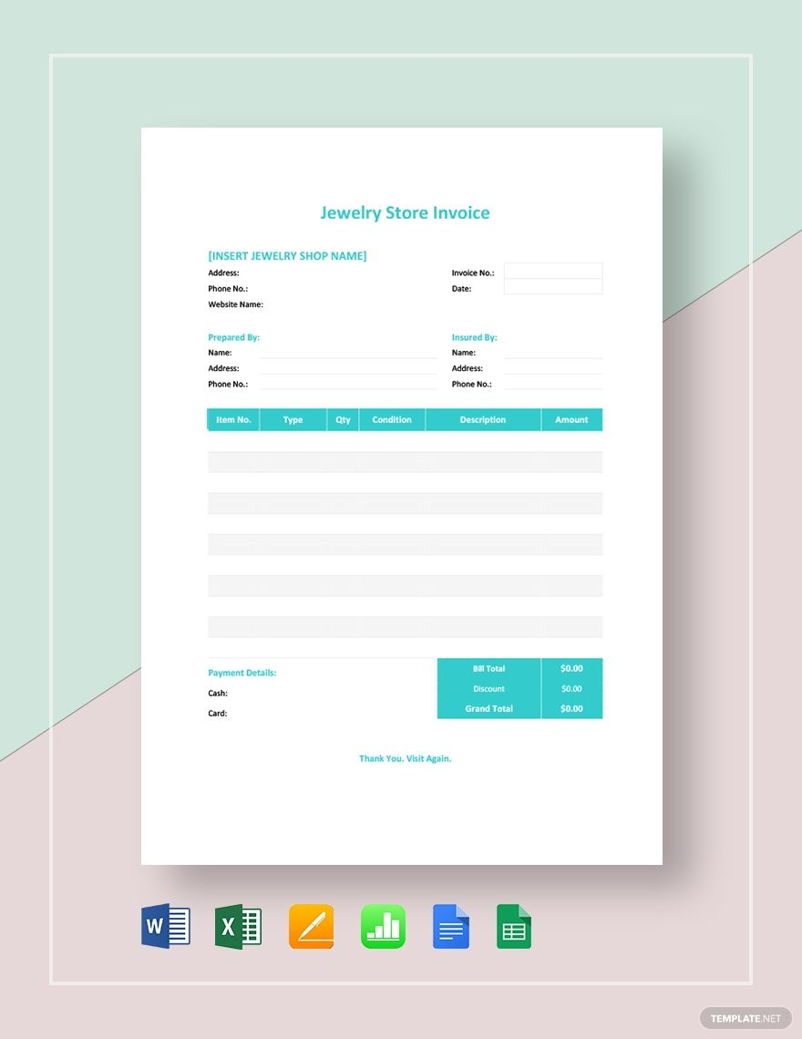 Jewelry Store Invoice Template Free Pdf Google Docs Google Sheets Excel Word Template Net Invoice Template Jewelry Stores Invoice Sample