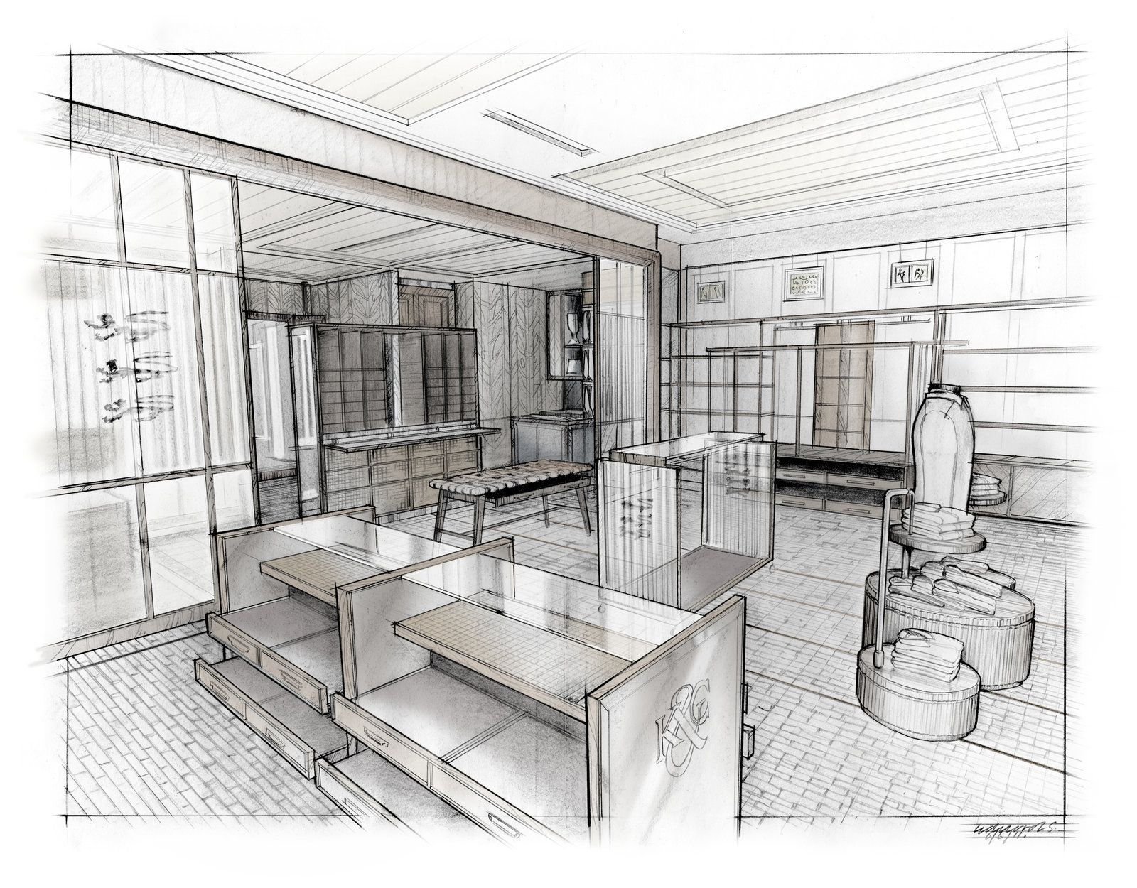 Interior perspective render by for Interior design sketches