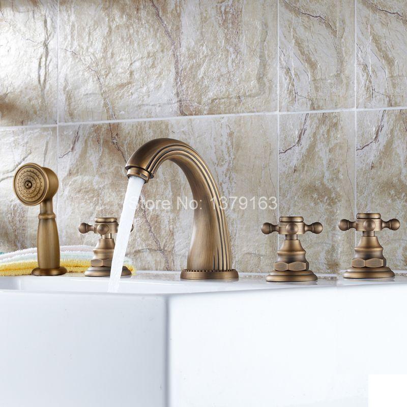 Deck Mounted 5 Holes Bathtub Mixer Faucet Antique Brass Widespread