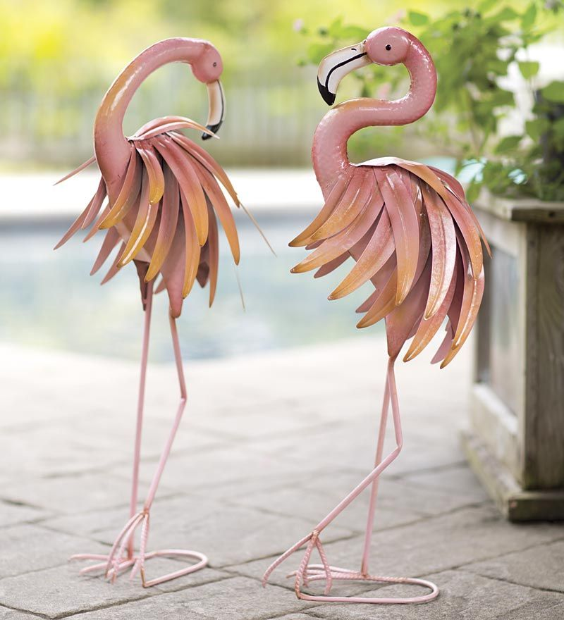 Feather Flamingo Metal Yard Sculpture Flamingo Decor Wind Amp Weather Flamingo Yard Decor Flamingo Garden Yard Sculptures