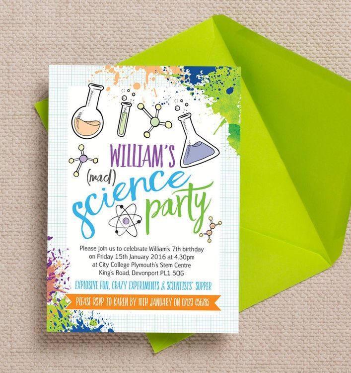 Mad Science Party Invitation   Mad science, Mad science party and ...