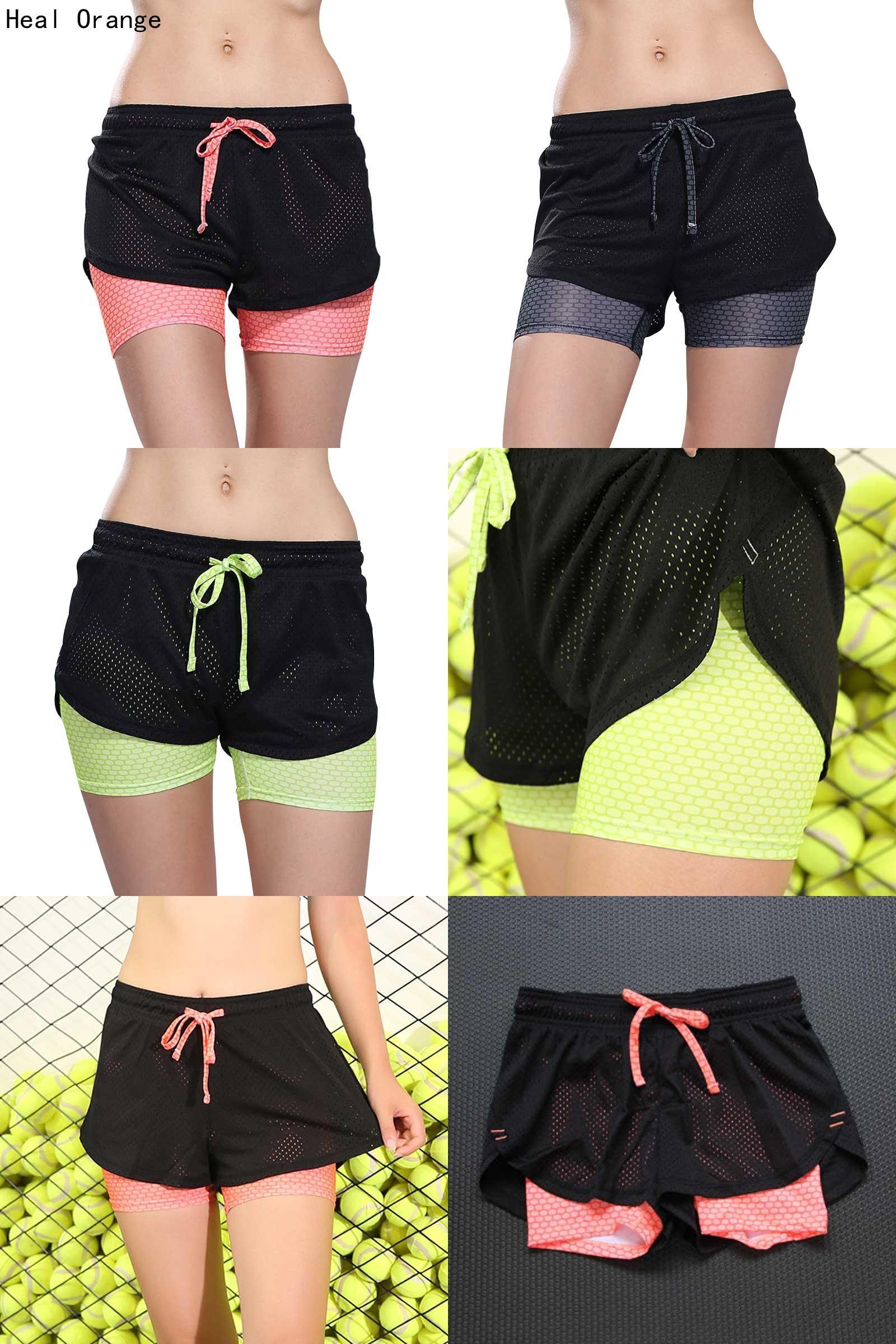 d9b9631840da  Visit to Buy  Heal Orange Women Sport Fitness Yoga Shorts 2 In 1 Women