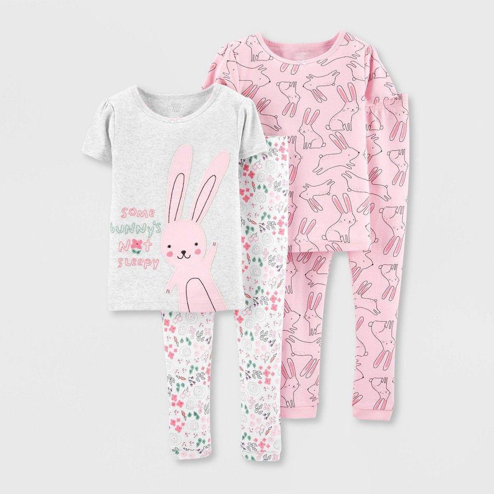 Unicorn Carters Toddler and Baby Girls 4 Piece Cotton Pajama Set 5T