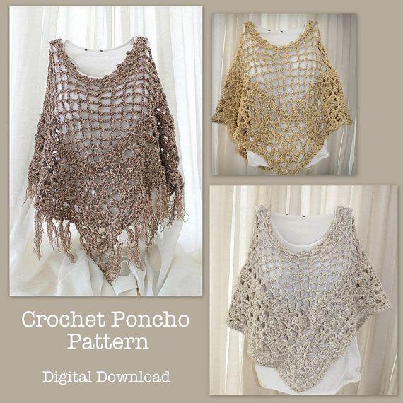 Crochet Poncho Pattern, boho beach poncho pattern, crochet summer ...