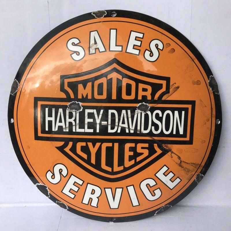 Old Harley Davidson 12 Dome Porcelain Sign Service Motorcycle Dealer Gas Oil Vintage Harley Davidson Motorcycles Harley Davidson Porcelain Signs