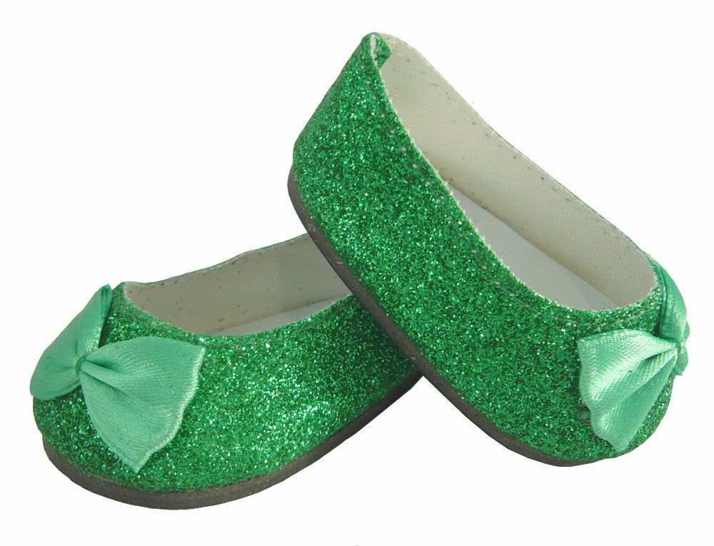 26622d1fa91 Green Glitter Ballet Flats Shoes for American Girl Doll Clothes   DollClothesSewBeautiful