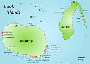 The Beautiful Islands Of Rarotonga And Aitutaki Let Journey - Cook islands map