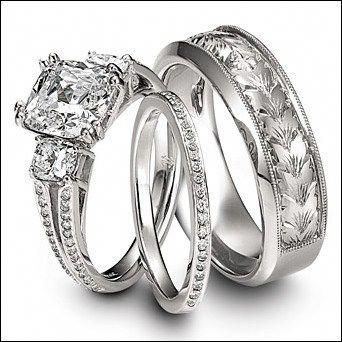 Bride And Groom Wedding Ring Sets  Engagementringsweddingrings