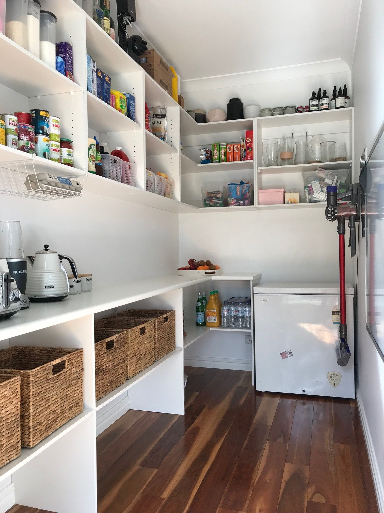 We Added Some Shelves To Our Walk In Pantry Diy Pantry