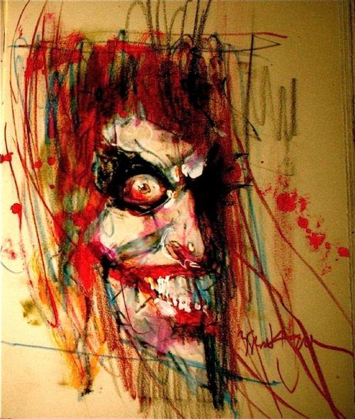 comicbookarts:    The Joker  Art by Bill Sienkiewicz