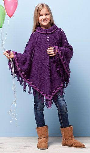 Poncho pour filles de free ponchos pinterest pour filles filles et tricot - Explication pour tricoter un poncho femme ...