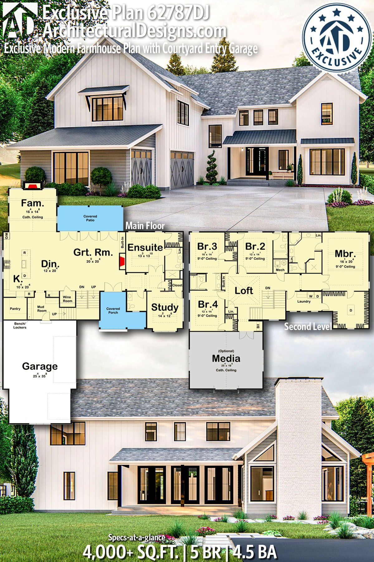 Plan 62787dj Exclusive Modern Farmhouse Plan With Courtyard Entry Garage Modern Farmhouse Plans Farmhouse Plans House Blueprints