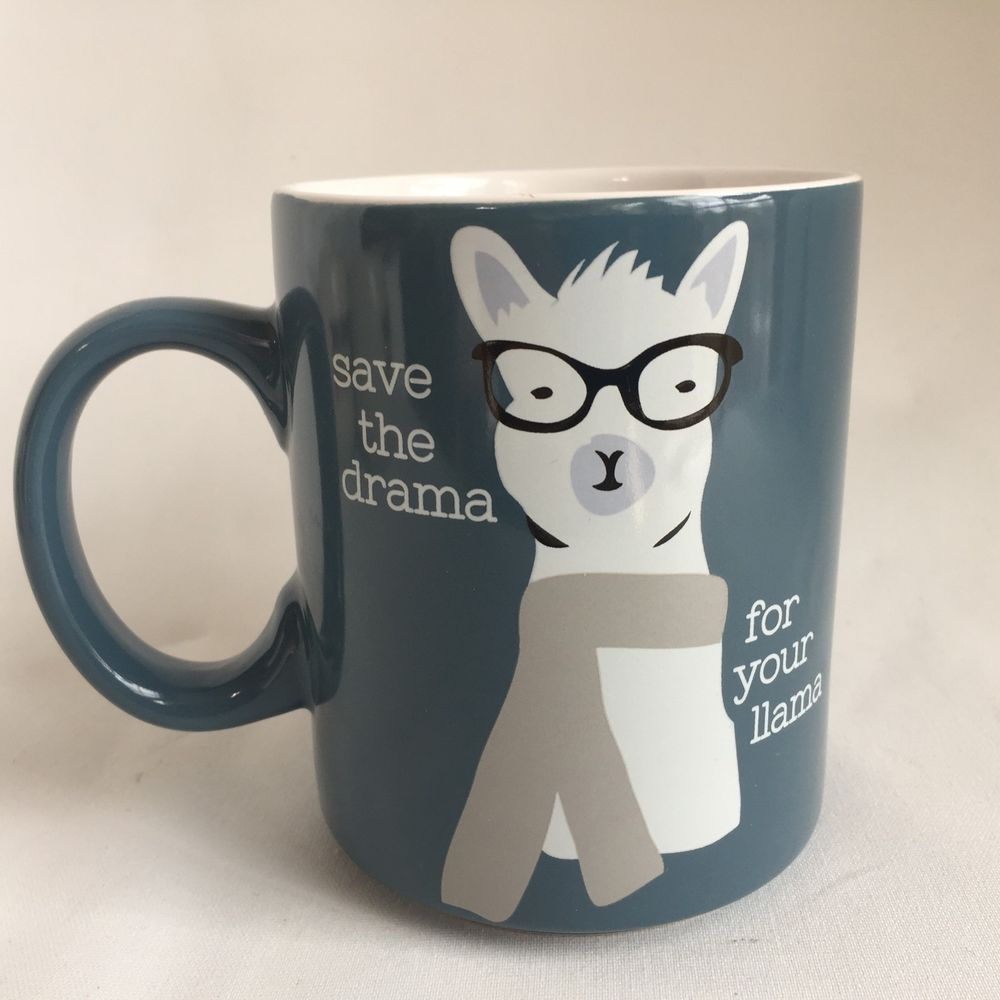 e3a48830313 Save the Drama for your Llama Mug 16 oz. New Blue White Scarf Glasses |  Home & Garden, Kitchen, Dining & Bar, Dinnerware & Serving Dishes | eBay!