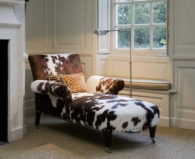 Cowhide Chaise Cow Decor Home