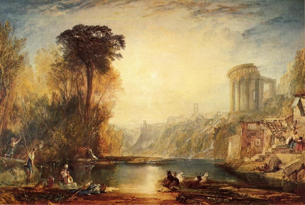 'Landschaft: Aufbau der Tivoli', wasserfarbe von William Turner (1789-1862, United Kingdom)