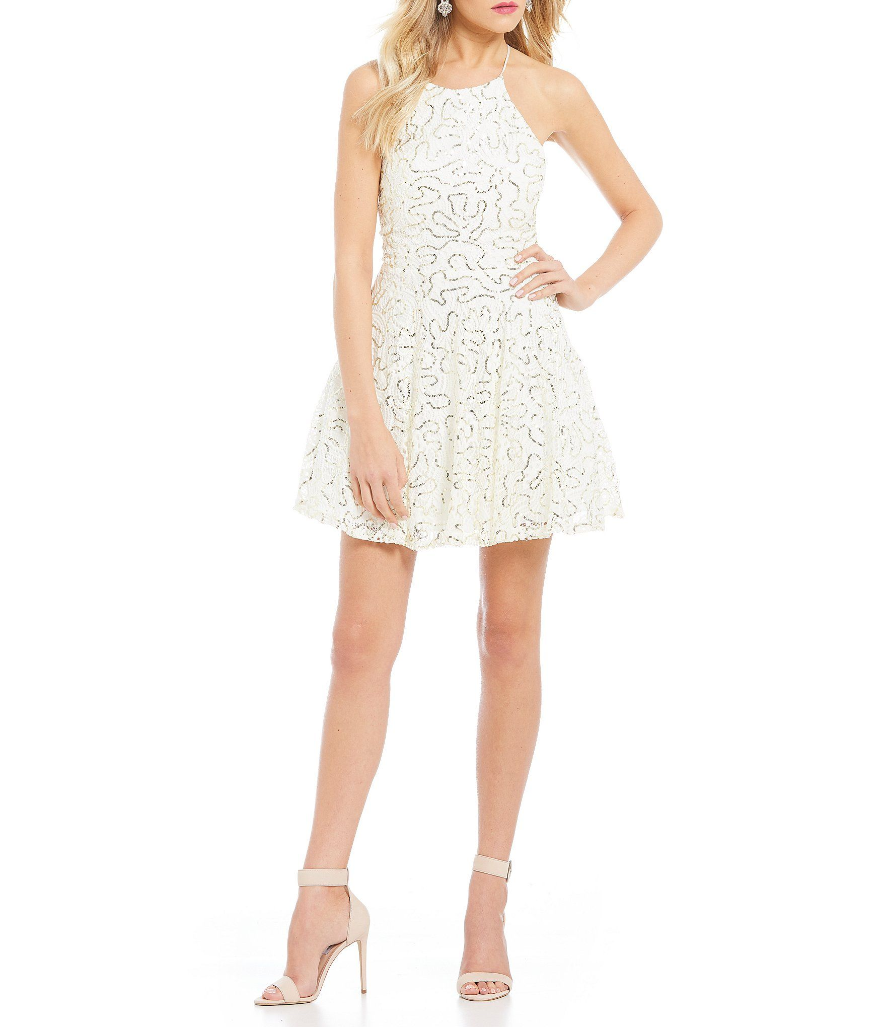 Shop for b darlin sequinembellished lace fitandflare dress at