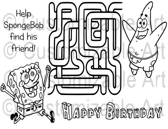 Cartoon SpongeBob Maze Coloring Page Printable By CustomizableArt