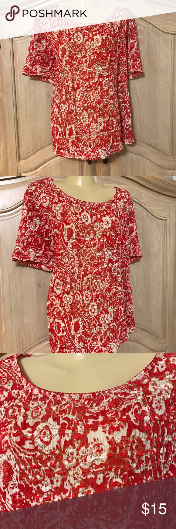 Designer east 5th blouse Blouse with short sleeves and round neckline stamped in red and white size 2 xl   80% polyester 20% spandex East 5th Tops Blouses