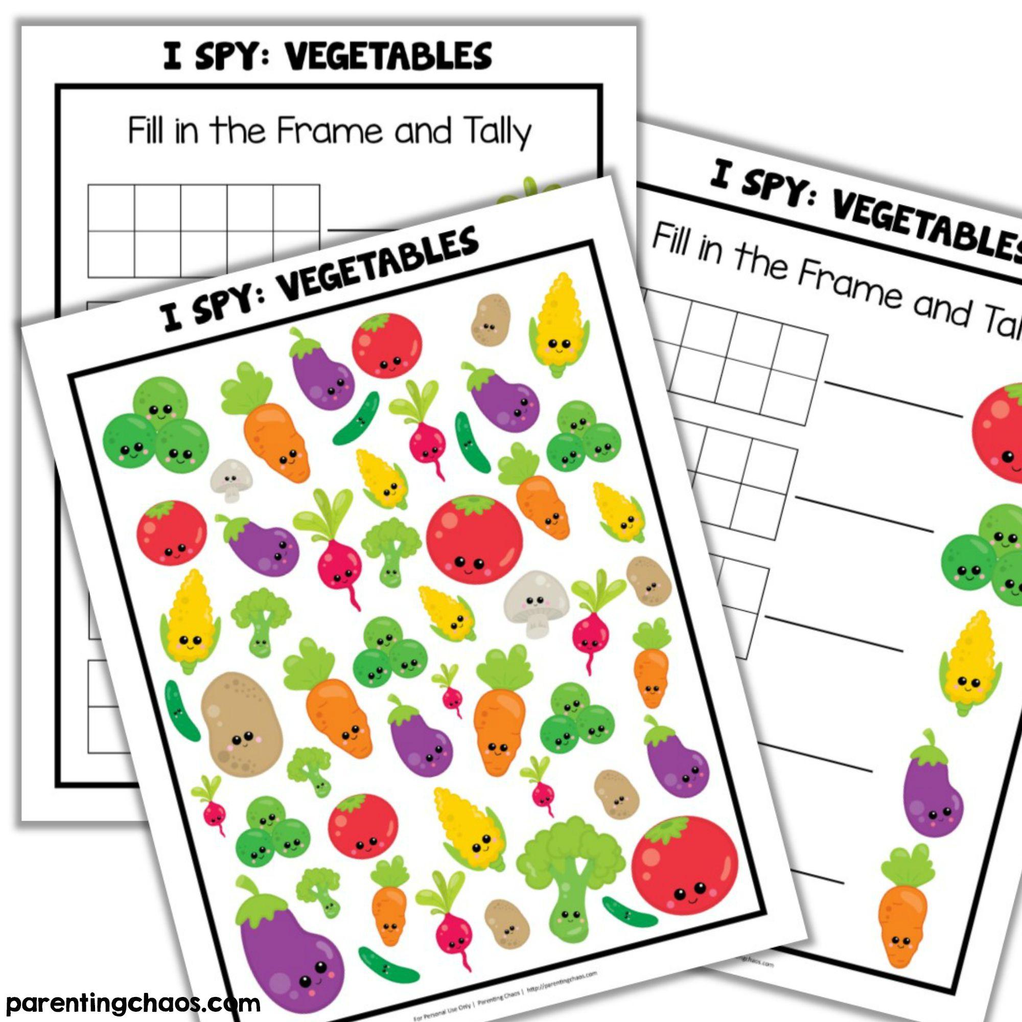 Vegetables I Spy Printable