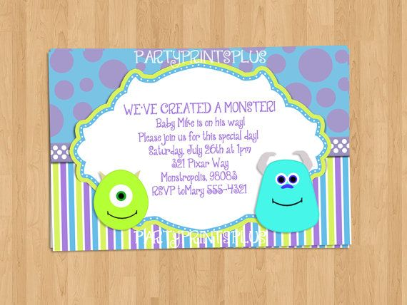 Monsters Inc Baby Shower Invitations Or Birthday Invitations, Personalized  Party Invite. Self Print 4x6
