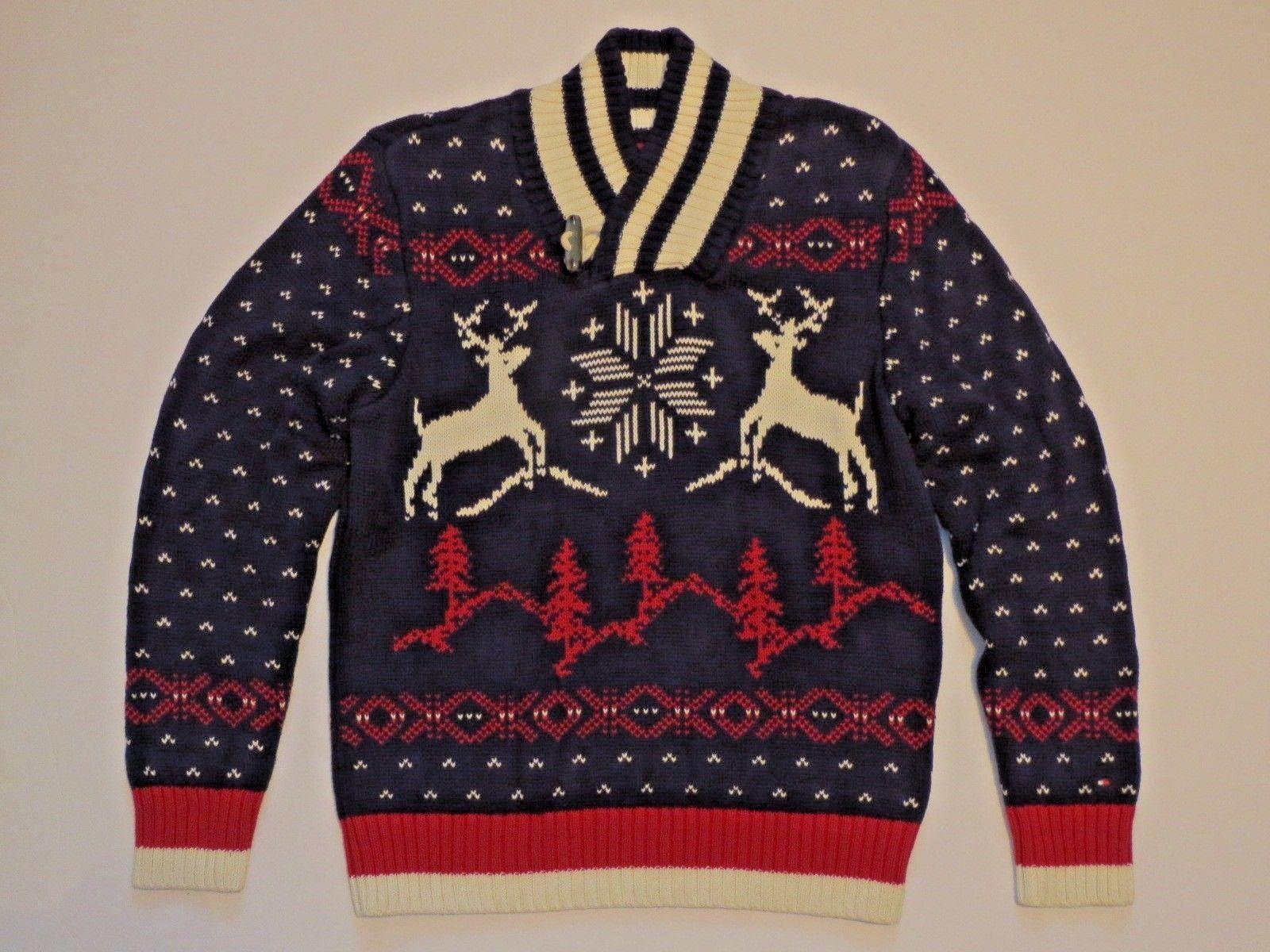 NWT Boys TOMMY HILFIGER Shawl Collar Fair Isle Holiday Sweater Navy M 12-14 L 16