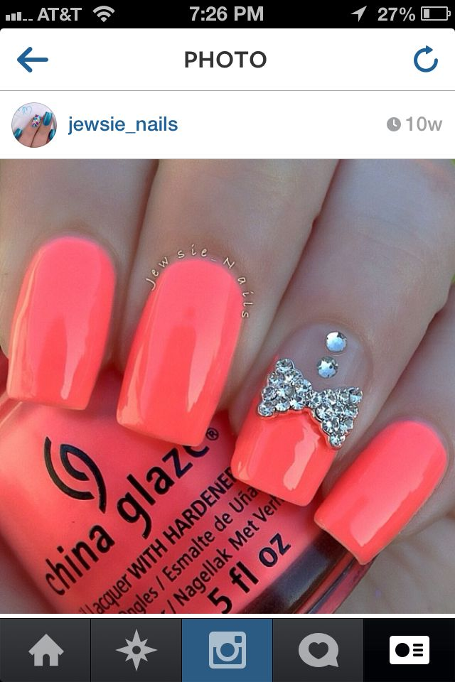 Gorgeous Simple Coral Nails With Diamonds And Bow Nails Diamond
