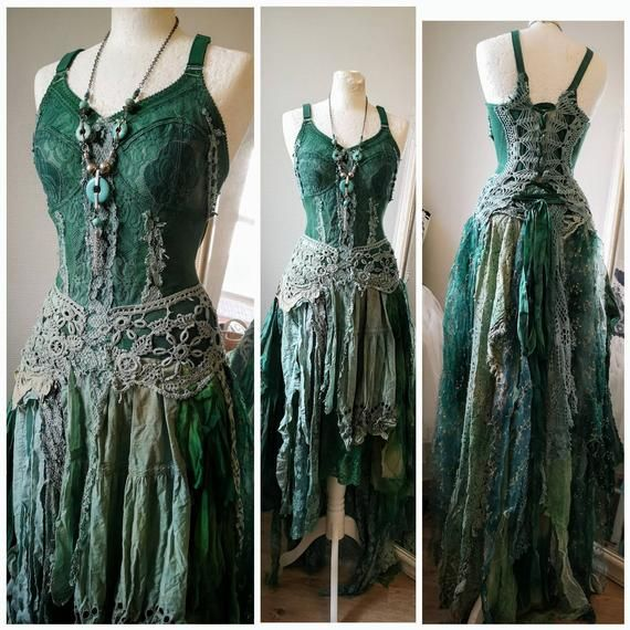 Photo of Boho wedding dress, tattered teal and green, Hippie dress, recycled antique lace