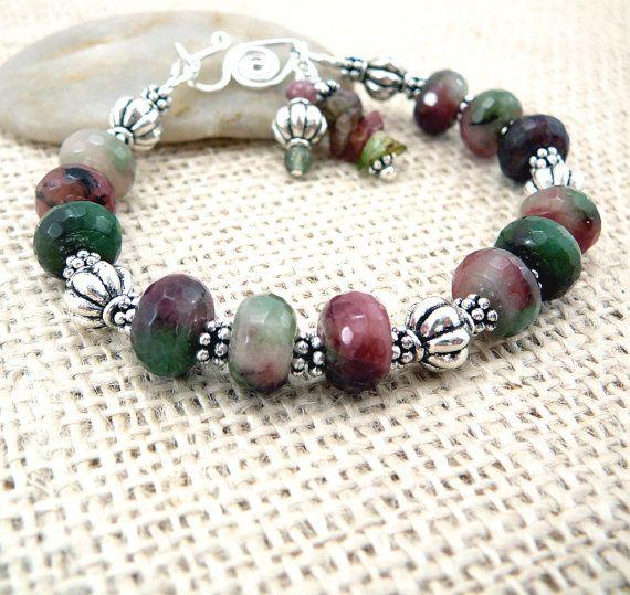 Beaded Bracelet  Quartz Bracelet  Gemstone by TouchOfSilver