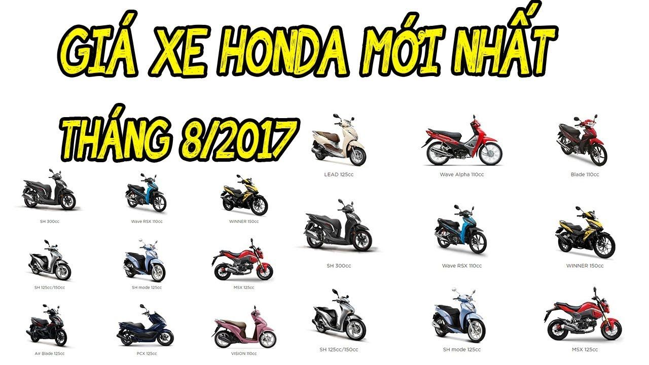 Bảng giá bán xe máy Honda tháng 8/2017 Xe số Honda tăng nhẹ 300k | Cập n...
