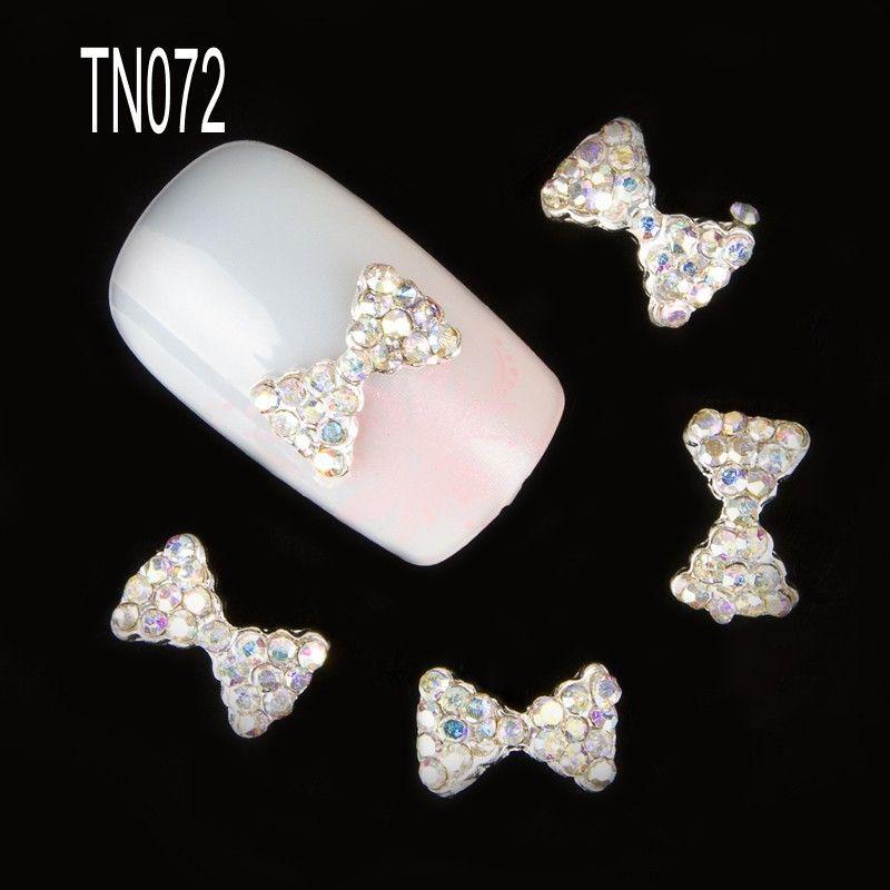 새로운 10 개 3D 네일 아트 돌 스터드 돌 활 크리스탈 라인 석 손톱 합금 장식 네일 아트 반짝이 DIY TN072