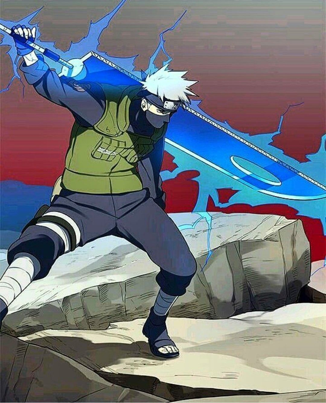 Badass pic of Kakashi during the war and with the Executioner's ...