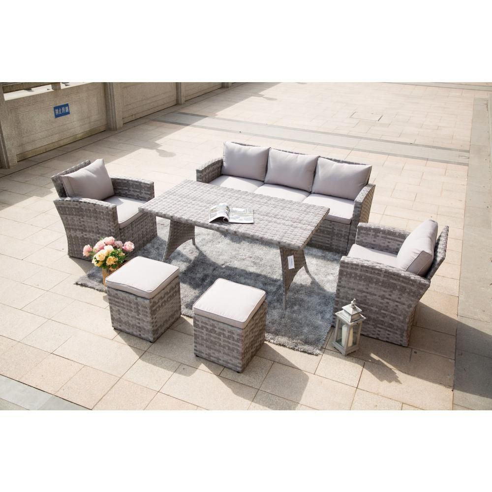 Direct Wicker Corolla Steel 6 Piece Grey Wicker Patio Furiture Outdoor Sectionals With Grey Cushions Outdoor Sectional Outdoor Furniture Sets Outdoor Wicker Furniture