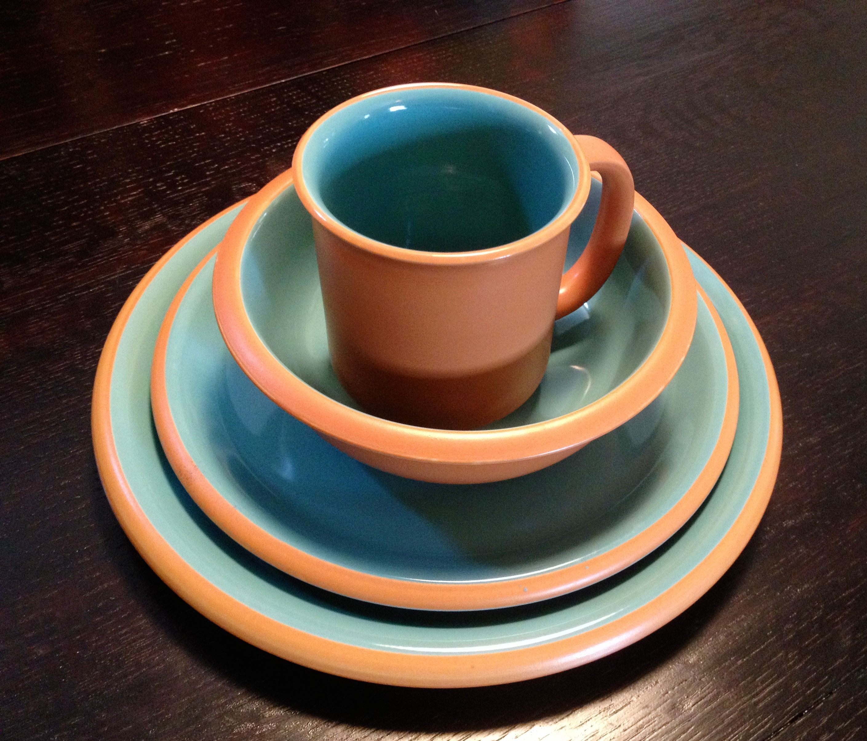 1950\u0027s Japan Crown Corning Corsona Dinnerware. Picked up a Set of 12 on eBay. Initially wasn\u0027t sure of the terra cotta trim but now really enjoy using these ... & 1950\u0027s Japan Crown Corning Corsona Dinnerware. Picked up a Set of 12 ...