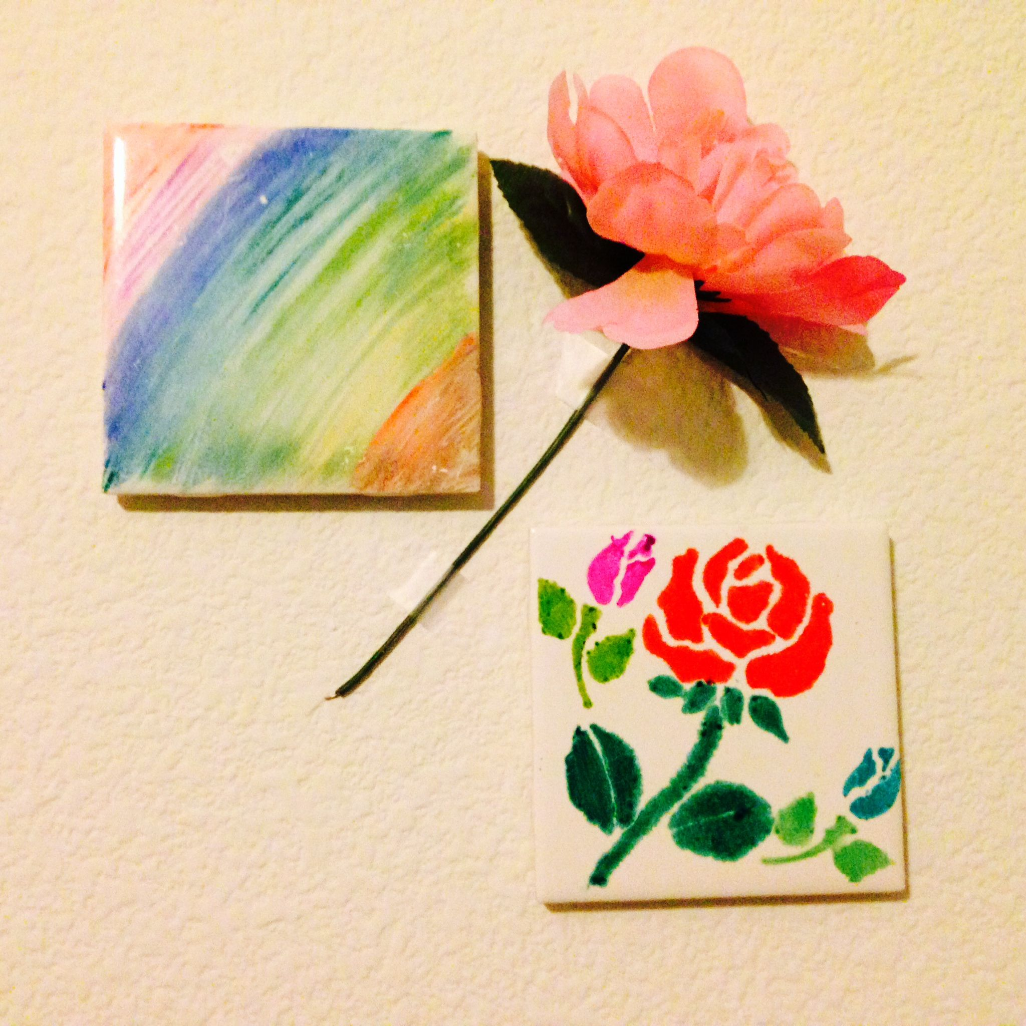 Diy sharpie tiles first use a cotton ball dipped in