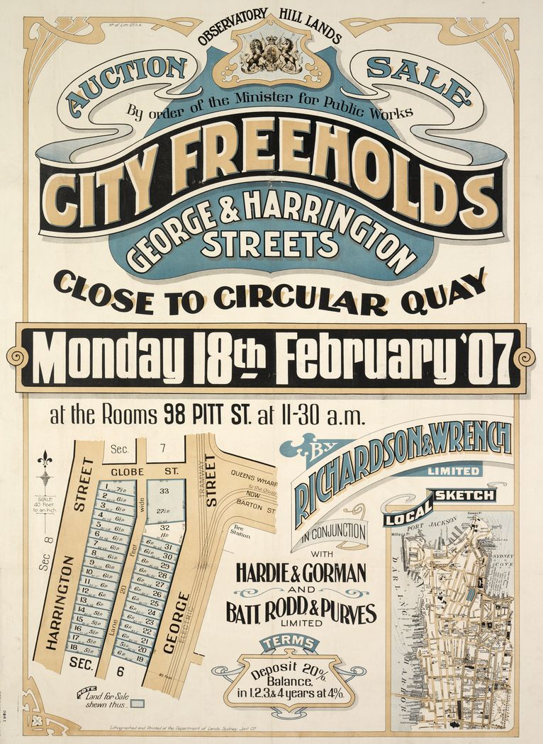 Observatory Hill Lands auction sale City freeholds : George & Harrington streets close to Circular Quay 1907