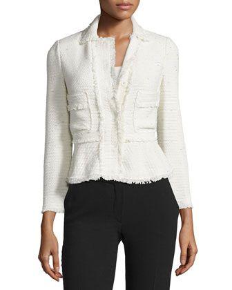 Rebecca Taylor Metallic Tweed Peplum Jacket, Cream   Fun in the ...