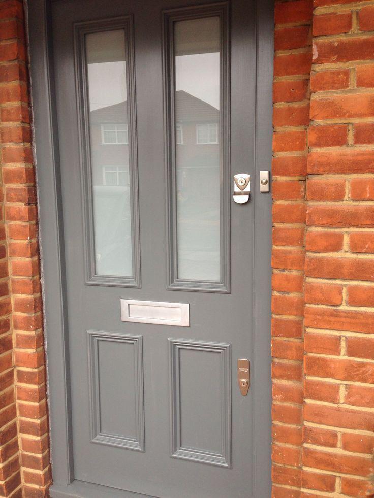 Victorian front door in little greene scree exterior for Victorian front doors