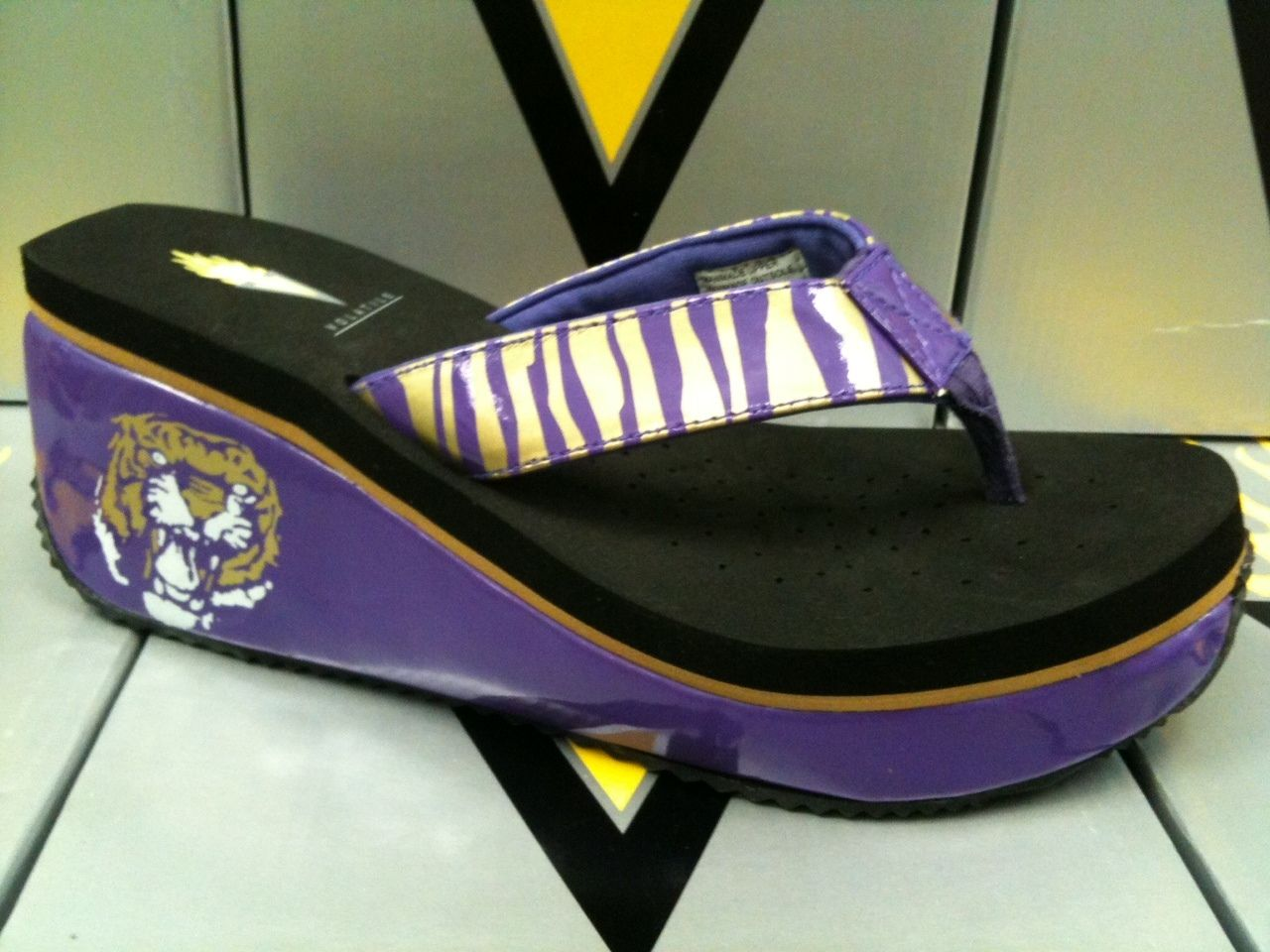New Style In Volatile Bengal Purple Gold Lsu Tiger Collegiate Wedge Sendal Flat Lisa All Right Girls D